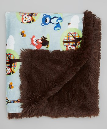 Brown Forest Animal Minky Blanket