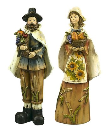 Pilgrim Couple Figurine Set