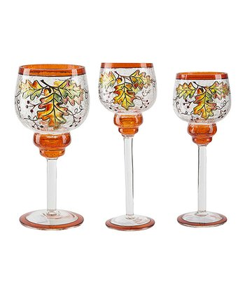 Autumn Leaves Pedestal Votive Holder Set