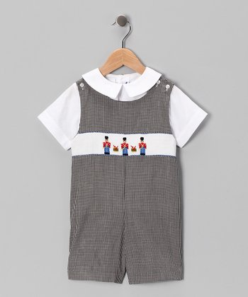 White Tee & Black Toy Shortalls - Infant & Toddler