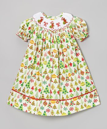 Green Gingerbread Xmas Bishop Dress - Infant, Toddler & Girls