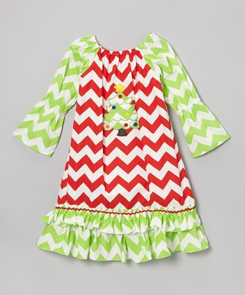 Red & Green Zigzag Xmas Tree Dress - Infant, Toddler & Girls