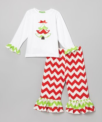 Red Xmas Tree Appliqué Top & Pants - Infant, Toddler & Girls