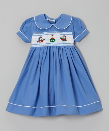 Blue Snowman Dolly Smocked Dress - Infant, Toddler & Girls