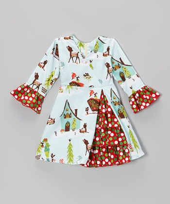Red & Blue Winter Wonderland Ruffle Dress - Toddler & Girls