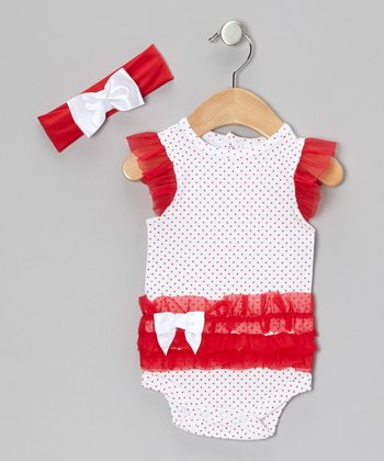 White Polka Dot Ruffle Bodysuit & Bow Headband - Infant