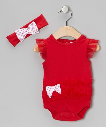 Red Ruffle Bodysuit & White Polka Dot Bow Headband - Infant