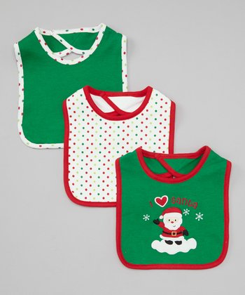 Green & White 'I Love Santa' Bib Set