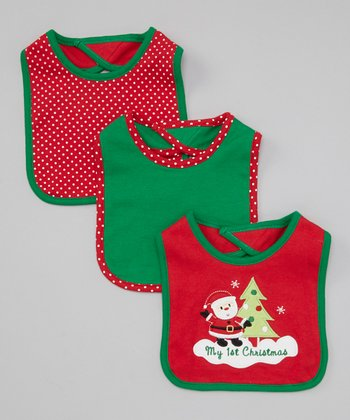 Red & Green 'My 1st Christmas' Santa Bibs Set