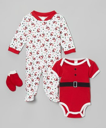 Red Candy Cane Santa Footie Set - Infant