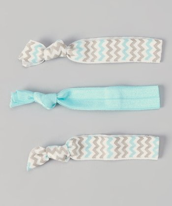 Aqua & Gray Zigzag Hair Tie Set
