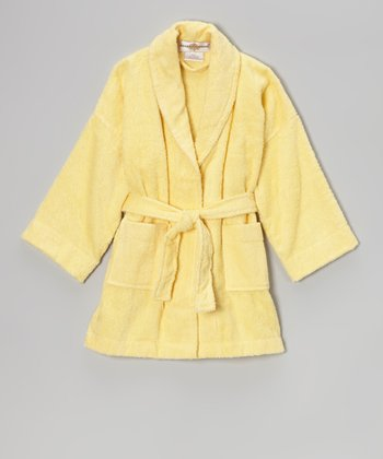 Yellow Terry Loop Bathrobe - Girls
