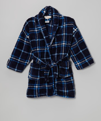 Navy Plaid Plush Bathrobe - Boys