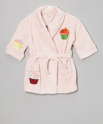 Pink Cupcake Appliqué Bathrobe - Girls