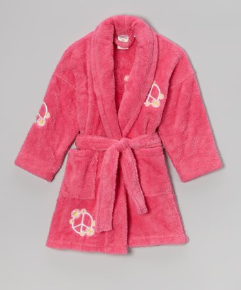 Fuchsia Peace Appliqué Bathrobe - Girls