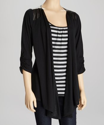 Black & Gray Stripe Layered Open Cardigan