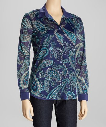 Royal Blue & Teal Paisley Button-Up