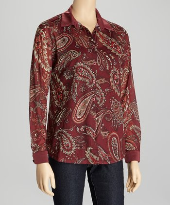 Wine & Cream Paisley Button-Up