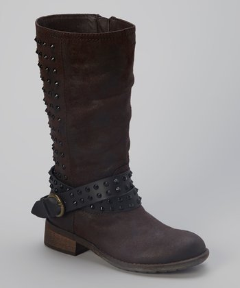 Brown Studded Sargeant Boot