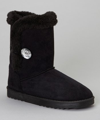 Black Faux Fur GG Boot