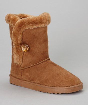 Tan Faux Fur GG Boot