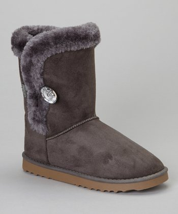 Gray Faux Fur GG Boot