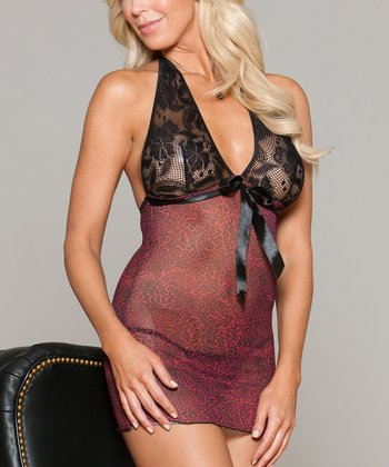 Pink & Black Leopard Halter Chemise & G-String - Women & Plus