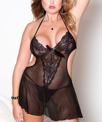 iCollection Black Floral Lace Mesh Skirted Teddy - Plus