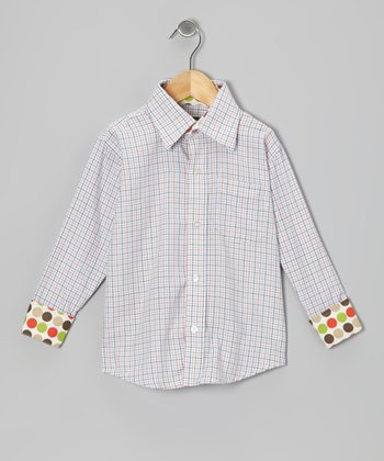 Orange Plaid Button-Up - Toddler