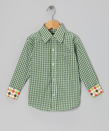 Green Gingham Button-Up - Boys