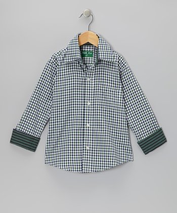 Hunter Green Gingham Button-Up - Toddler & Boys