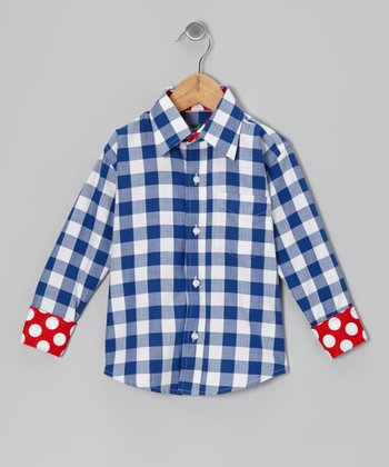 Royal & White Plaid Button-Up - Toddler & Boys