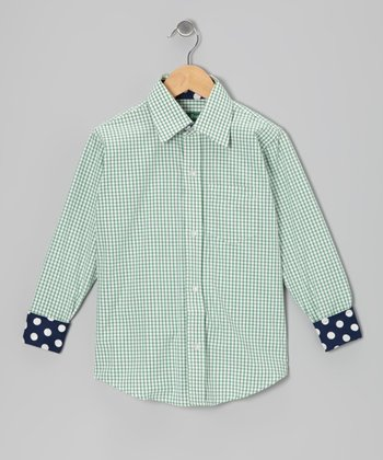 Green & White Gingham Button-Up - Toddler & Boys