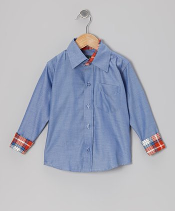 Blue & Red Plaid Button-Up - Toddler & Boys