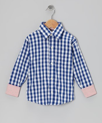 Navy & White Plaid Button-Up - Toddler & Boys
