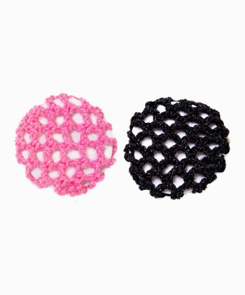 Pink & Black Iridescent Bun Holder Set