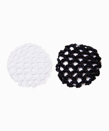 White & Black Iridescent Bun Holder Set