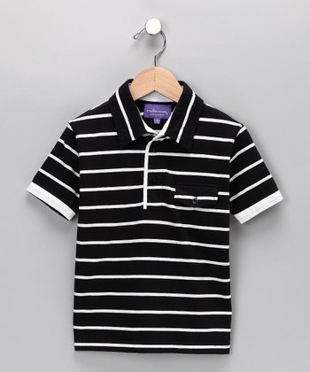 Black Stripe Polo - Toddler & Boys