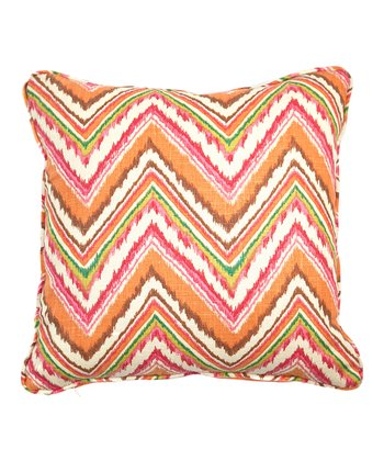 Orange & Pink Zigzag Throw Pillow