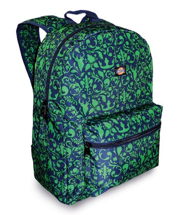 Green & Blue Floral Skull Student Backpack