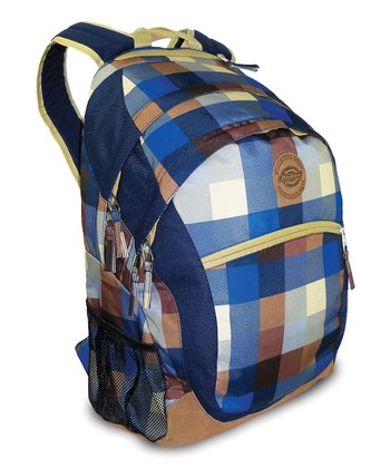 Blue & Brown Plaid Sport Backpack
