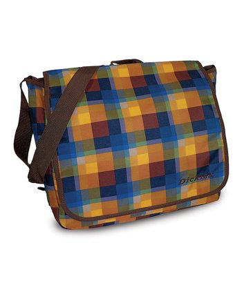 Yellow & Brown Plaid Convertible Messenger Bag