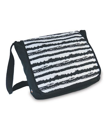 Black & White Stripe Convertible Messenger Bag