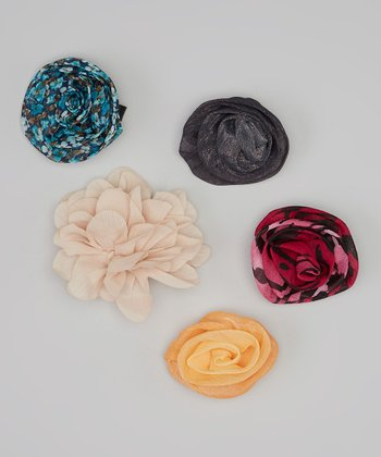 Fuchsia & Gray Sheer Flower Clip Set