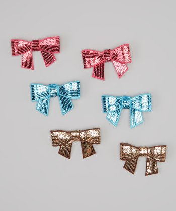 Blue, Pink & Bronze Sequin Bow Clip Set