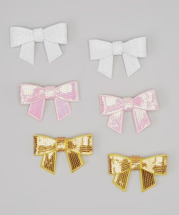 Gold, Pink & White Sequin Bow Clip Set