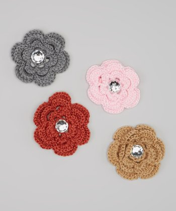 Pink & Gray Rhinestone Crocheted Flower Clip Set