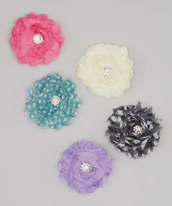 Dusty Blue & Purple Polka Dot Rhinestone Flower Clip Set
