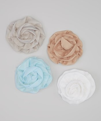 Light Blue & Gray Net Rose Clip Set