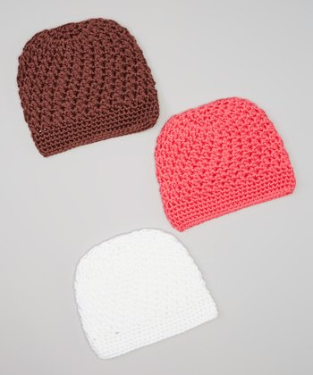 Brown, Coral & White Crocheted Beanie Set